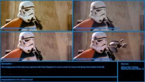 Сравнителен кадър от различни версии на ,,Междузвездни войни''